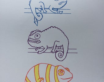 A3 Chameleon Trio Illustration Screen Print