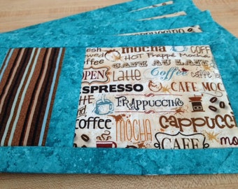Coffee Mug Rugs, Set of Four Small Placemats for Lunch or Snack, Reversible Cup Rugs Ideal Gift for Coffee Lovers