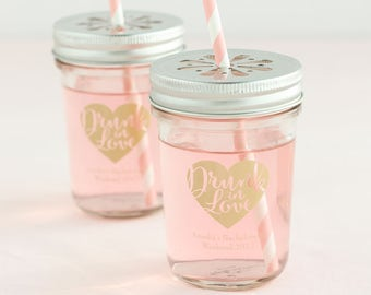 Personalized Printed Wedding Mason Jars (set of 12)
