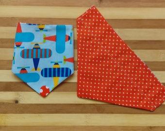 Reversible Pet Bandana Planes and Orange w Polka Dots- Slip Through Collar