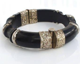 Unusual Vintage c. 1970's Ebony Hinged Chunky Bangle Bracelet