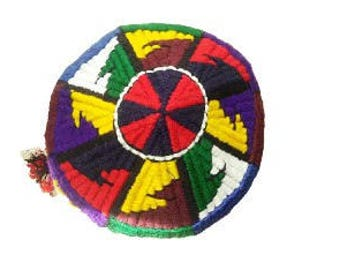 Original Uzbek national headdress. Headpiece from woolen threads.