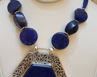 afghan tribal lapis lazuli necklace
