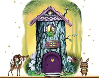 IMP door Elf door with wall decals tree house E16