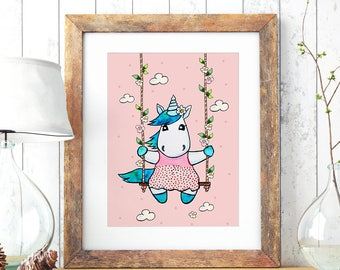 A3 Print Illustration Poster Unicorn Swing P74