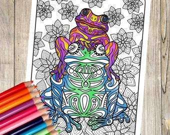 Tribal Frogs Coloring Page
