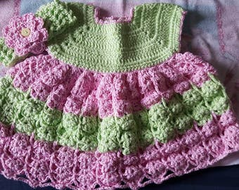 Handmade Crochet Baby Dress and Headband Pink and Green 0 - 3 month