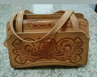Corvi Made In Mexico Tooled Tan Leather Footed Handbag