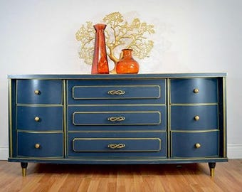 SOLD -Blue and Gold Hand Painted Mid Century Modern Makeover