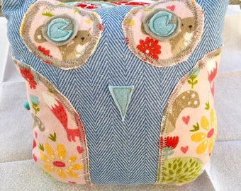 Cute Owl Pillow with Back Pocket