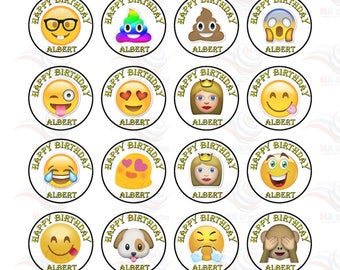 24 X Personalised  with Any Name Happy Birthday Emoji Mix  Edible Cake Decorations Cupcake Toppers #1