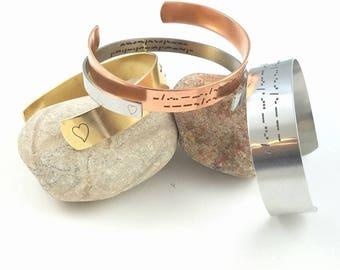 Custom Morse Code Bracelet Morse Code Jewelry Engraved Bracelet Hidden Message Bracelet Cuff Bracelet