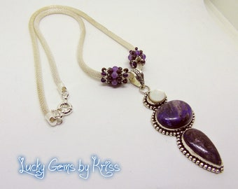Charoite necklace with beaded beads, silver chain necklace, gemstone necklace, lucky gems, handmade necklace, handmade jewelry, gift for her