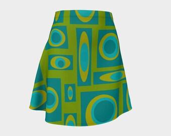 Retro, Skirt Green,Gift, For Her, Geometric, Wife Gift, Womens Skirt, Gift, Turquoise, A-Line Skirt, Womens Gift, Unique, Gift for Women