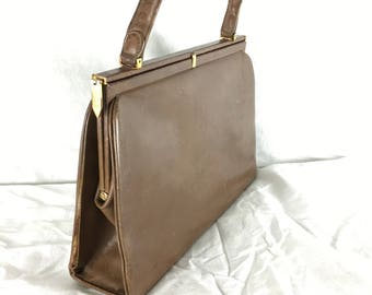 Tan Leather and Brass 'Boston Shoe Hong Kong' Leather-Lined Handbag