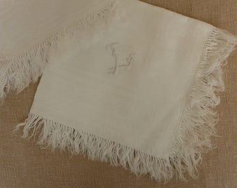 Set of 6 Antique Embroidered Fringed Damask Dinner Napkins