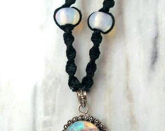Mirrors: Lab Opal Hemp Necklace