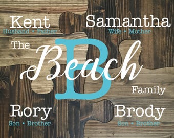Family of 4, Puzzle peice wall decor, Family Wall Sign, Wood Family Sign, Custom Family Sign