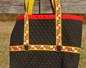 Quilted cotton large Maryland halter tote bag