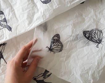 Blockprinted tissue paper- set of 3