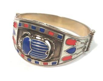 Vintage Egyptian Sterling Silver 925 Gilt Bracelet scarab with red blue Enamel Egypt ca. 1970s