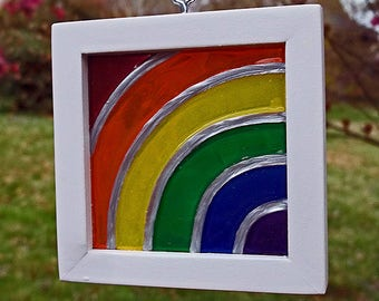 """Painted """"Stained Glass"""" Rainbow Mini-Radial"""