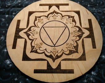 Crystal Grid for Meditation with Tara Yantra and Kamala Yantra Double Sided