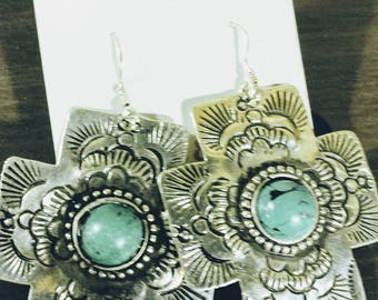 Cross Earrings with Turqiouse