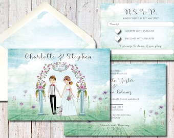 Illustrated Bride and Groom Garden Invitation