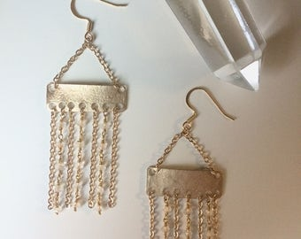 Gold & Moonstone Chandelier Earrings