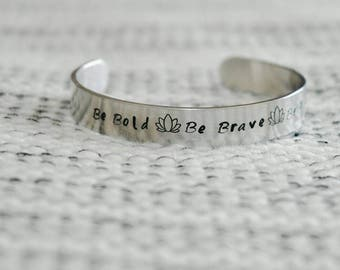 Personalized hand-stamped bangle bracelet