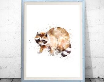 Raccoon wall art, raccoon poster, raccoon watercolor, raccoon printable, raccoon painting, raccoon wall decor baby raccoon print raccoon art