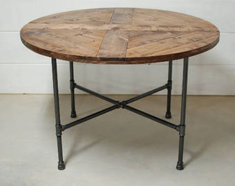 Round Wood Industrial Dining Table, Wood Furniture, Modern Kitchen Table, Kitchen Table, Industrial Black Pipe, Reclaimed Wood - FREE Ship
