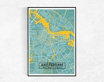 Amsterdam City Map Poster, Custom Map Print, Map, Large Poster, Wall Art, Map Wall Art, Travel Poster, Amsterdam, City Map Print