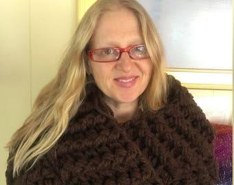 "Super Bulky Infinity Cowl Cape Scarf - Brown ""Mink Stole"" Wool Crochet"