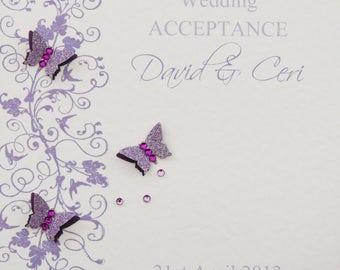 Beautiful Handmade Personalised Wedding Acceptance Card Lilac/Purple