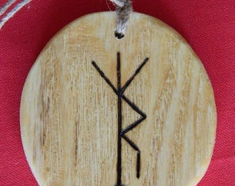 "Wooden Rune-bind amulet talisman ""Protection with energy replenishment"" pyrography hand made Asatru Wicca Pagan elder FUTHARK"