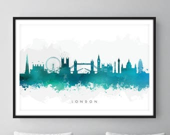 London Skyline, London Cityscape England, Art Print, Wall Art, Watercolor, Watercolour Art Decor [SWLDN07]