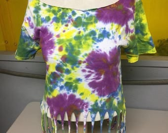 Tie dye fringe off the shoulder shirt with beads