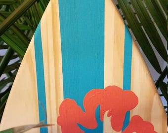 Surfboard Wall Art   Turquoise/Coral With Or Without Lettering.