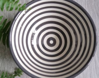 Grey and White Stripe Bowl - Medium