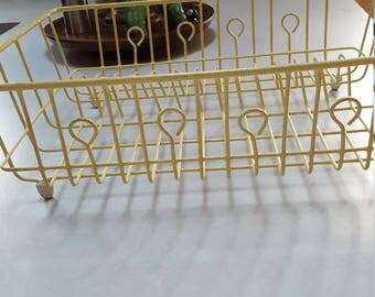 Vintage Yellow Wire Covered Dish Drainer Vintage Camper