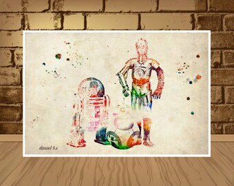 Star Wars R2D2 poster,C3PO Print,BB8 Birthday Children Painting,Star Wars Droid Robot Nursery Cute Decor, Movie Quote Print Colorful Artwork