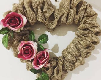 "Burlap wreath. 12"" burlap heart, burlap wreath"