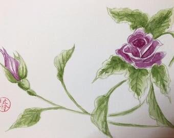 Rosebush branch, original watercolor