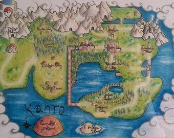 Illustration map kanto / pokemon map / kanto (21 x 29 cm)
