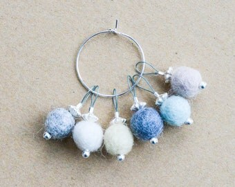 Neutral Snag-Free Felted-Wool Stitch Markers - Fits up to 4.0 mm (8 U.S.)