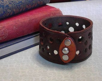 Two Tone Brown Leather Cuff