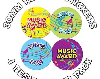 Music awards - Childrens Reward Stickers - 30mm - Schools,Teachers, Parents