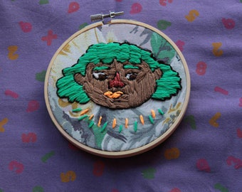 Orange lipstick Femme//hand embroidery hoop//original art